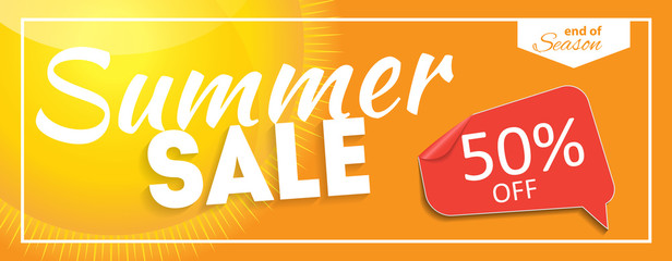 Summer Sale end of Season Banner. Business Discount Card. Vector Illustration