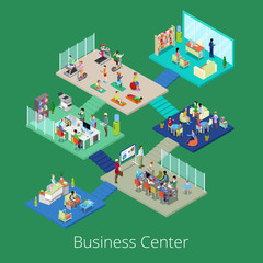 Isometric Business Office Center Building Interior with Conference Room and Gym. Vector illustration