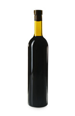 Bottle of red wine isolated on white