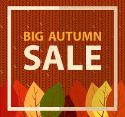 Big autumn sale banner on knitted fabric. Knit pattern background, flat vector illustration