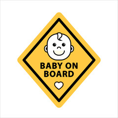 Baby on board sign on yellow rhombus, flat vector illustration