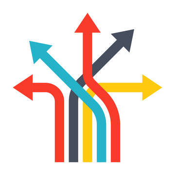 Business decisions concept with arrows in flat style.