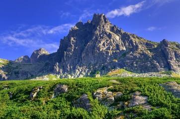 Summer mountain landscape. Beautiful rocky peaks in High Tatra, Slovakia.