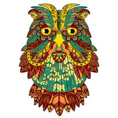 Big eagle owl. Birds. Hand drawn doodle zentangle