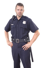 Uniformed police officer on white background
