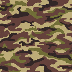Army camouflage seamless pattern, green-brown colors. Vector illustration