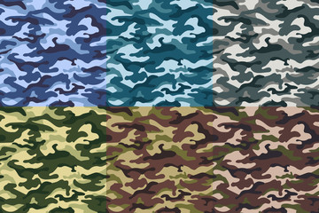 Set of military camouflage seamless pattern. Vector illustration