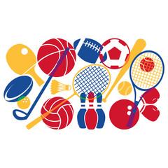 Colorful Sport Equipment Illustration