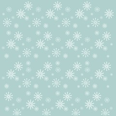 Background with white snow-flakes on blue, vector illustration