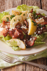 Warm salad with bacon, onions, green apple and goat cheese macro. Vertical