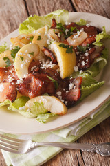 Swedish cuisine salad with bacon, onion, apple and goat cheese close-up. vertical