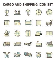 Cargo and shipping vector icon set.