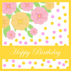 Birthday illustration with cute roses on orange frame suitable for Birthday invitation card
