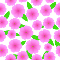 Seamless background of Spring illustration with pink flowers and leaves suitable for wrapping paper and wallpaper