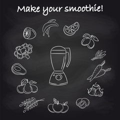 Hand drawn blender and popular smoothie ingredients on chalkboard. Vector illustration
