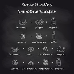 Healthy smoothie recipes in pictures. Hand drawn smoothie vector recipes on black background