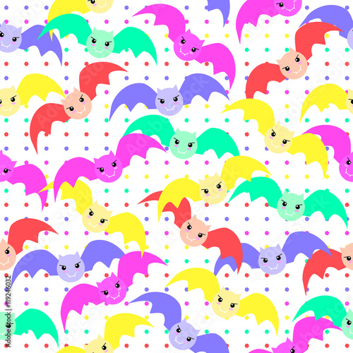Seamless Background Of Halloween Illustration With Cute Colorful Bats On Polka Dot Suitable For Wrapping