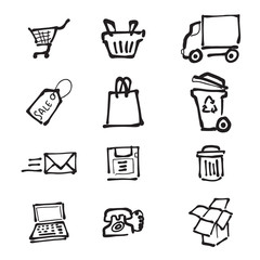 Supermarket direct mail and delivery service drawing icons