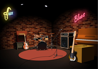 Rock and roll jazz blues music club stage