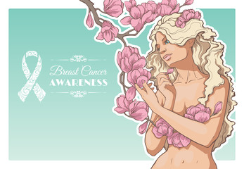 Woman with a branch of magnolia blossoms and ribbon of breast cancer