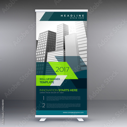 roll up banner stand template for your business presentation ...