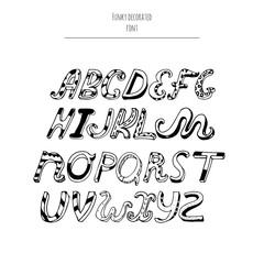 Vector decorated english alphabet from a to z in cursive style, hand written with ink and nib. Letters sequence, good for creative lettering and print design. Isolated on white background typeset.