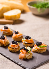 Printed roller blinds Appetizer Smoked Salmon Canapes with Sour Cream and Caviar