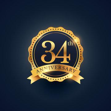 34th anniversary celebration badge label in golden color