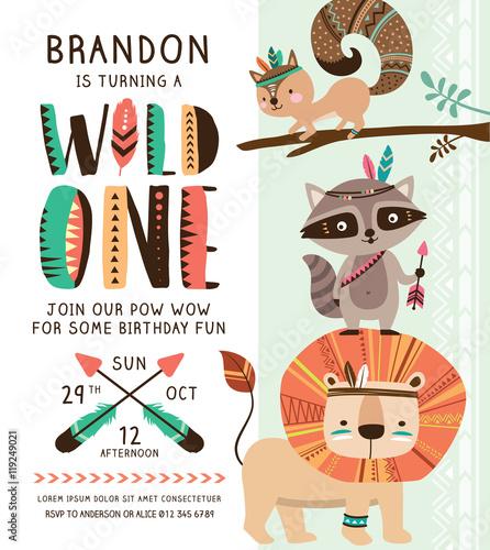 Kids birthday party invitation card with cartoon tribal animals.