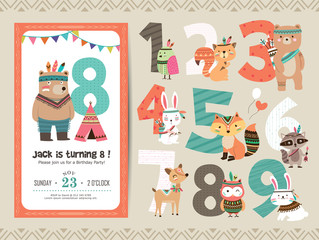 Birthday Anniversary Numbers with Cute Tribal Animals & Birthday Party Invitation Card Template