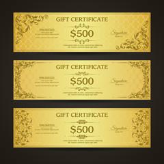 Golden gift certificate banners set