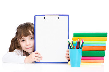 young girl holding clipboard with blank paper. isolated on white