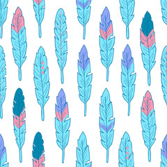 Seamless pattern with colorful feathers