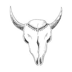 Hand-drawn bull skull with native ornament