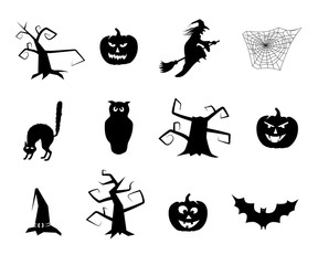Vector black halloween items.
