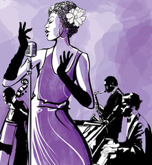 Wall Mural - Jazz singer with saxophone, double bass and piano
