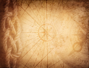 Fototapete - Compass, rope on vintage map. Adventure, travel, stories background.