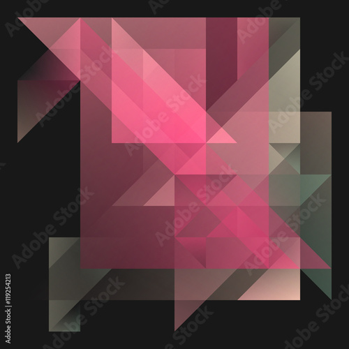 Abstract 2D Geometric Red Background With Triangles In Random Patterns Layered Contemporary Cubist Layout