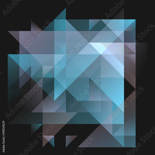 Abstract 2D Geometric Blue And Cyan Background With Triangles In Random Patterns Layered Contemporary