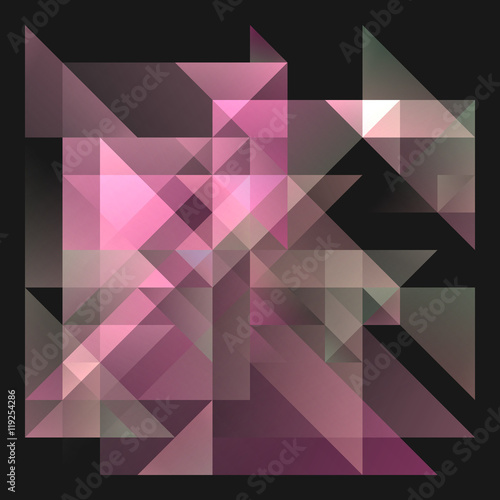 Abstract 2D Geometric Purple And Pink Background With Triangles In Random Patterns Layered Contemporary