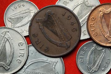 Coins of Ireland. Celtic harp