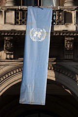 Flag of the United Nations in Milan, Lombardy, Italy.