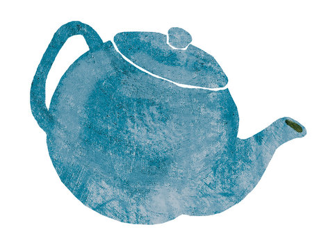 A blue kettle on a white background
