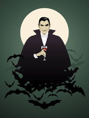 Dracula. Elegant vampire on a cloud of bats holding a wineglass.
