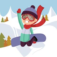 A boy rides on a snowboard.