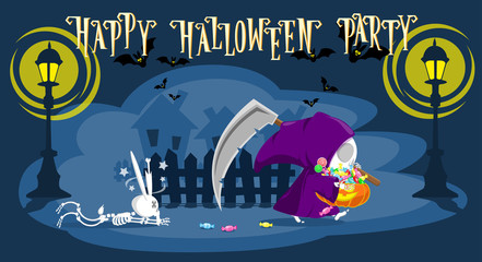 Funny little death with a large scythe punished rabbit skeleton and go away with a pumpkin full candy. Cartoon style. Development of a concept for banners, posters or cards. Vector illustration