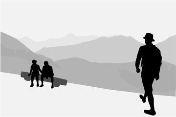 People walking through the mountains.