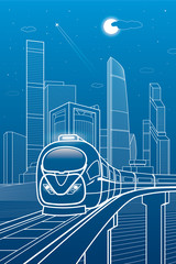 Train move. Business center, architecture, transport and urban illustration, neon city, white lines composition, skyscrapers and towers, vector design art
