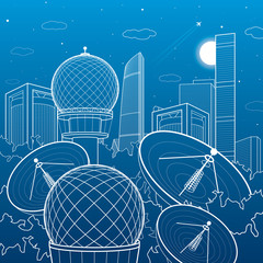 Radars in the woods, communication technology, weather station, night skyline, neon city, urban scene, vector design art