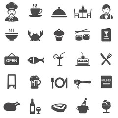 Restaurant icons. Black series